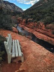 Bench Overlooking Slide Rock State Park, Sedona, Arizona, USA