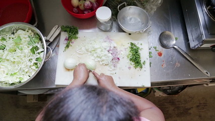 woman cutting onion in kitchen, view from top