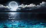 Fototapety romantic and scenic panorama with full moon on sea to night