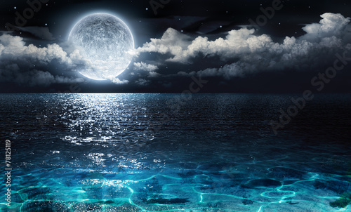 Spoed canvasdoek 2cm dik Zee / Oceaan romantic and scenic panorama with full moon on sea to night