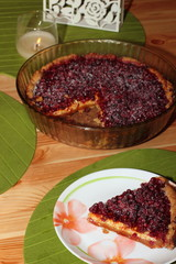 Piece of cake with cranberries