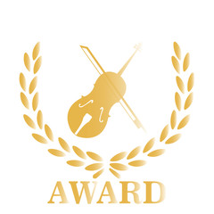 Gold Award violin over white color background