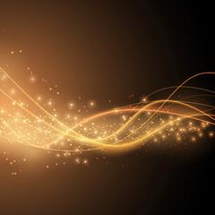 Bright solar orange swoosh speed wave modern glittering backgrou