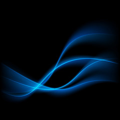 Abstract blue swoosh lines over black background