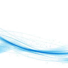 Swoosh blue wave lines over white background