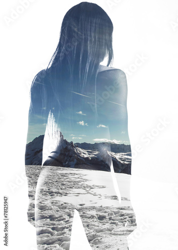 Double exposure of beautiful model back and mountainscape - 78125947
