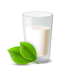 Glass of milk and green leaf