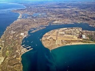 Aerial View of Point Loma, Coronado, Bay, San Diego, California