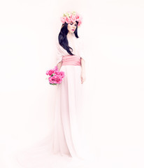 Portrait of a romantic bride lady on white background. Wedding f