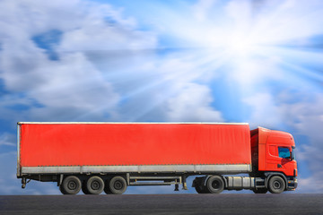 red truck goes on way