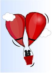Couple en montgolfière