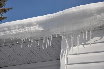Icicles hanging in the roof