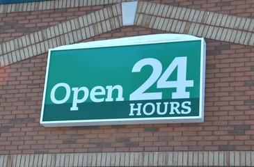 Open 24 hour signage