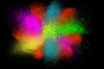 Freeze motion colorful powder paint exploding splatter