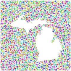 Map of Michigan - USA - into a square icon