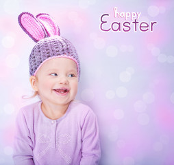 Cute baby wearing Easter bunny costume