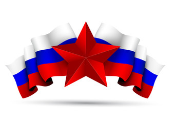 Russian flag with a red star