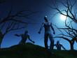 3D render of zombies