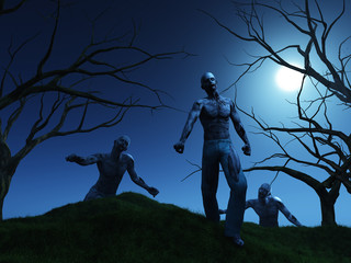 3D render of zombies