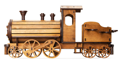 wooden model of train isolated on the white background