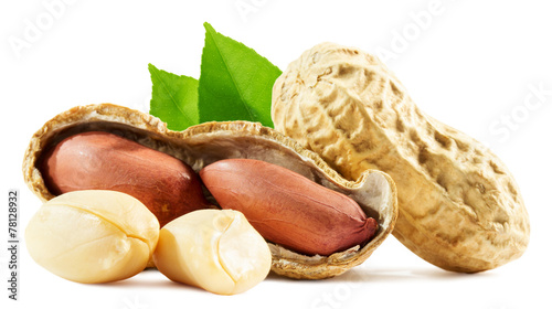 peanuts isolated on the white background - 78128932
