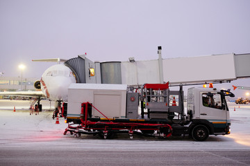 Moscow, Russia, 2015: de-icing machine at the airport