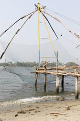 Chinese fishing nets in Kochin (Cochin) in Kerala in South India