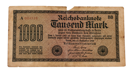 Old German Reichsmarks from 1923, last page