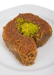 kadayif dessert with pistachio and natural milk cream