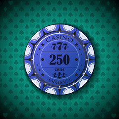 Poker chip nominal, two hundred fifty, on card symbol background