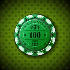 Poker chip nominal one hundred, on card symbol background