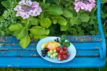 Fresh Fruits on Plates Placed on Top of the Bench.