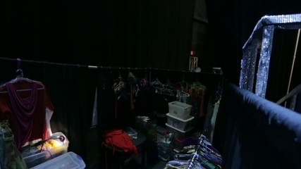 Tilt up from Dressing Room backstage to Lights in Ceiling
