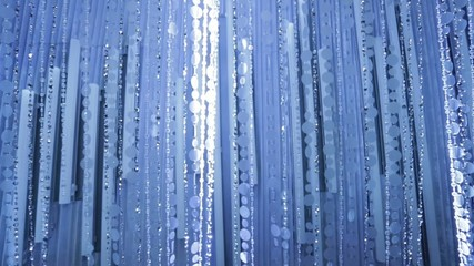 Briliant Beaded Curtain with Blue and White Tones