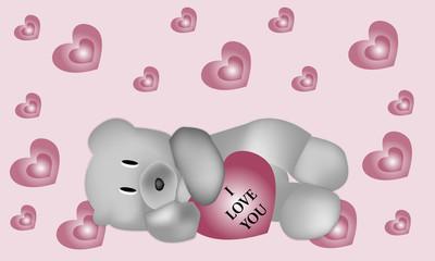 Osito I love you y corazones sobre fondo rosa.