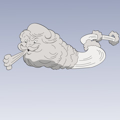 Vector cartoon face in cloud blowing