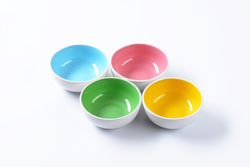 Empty colored bowls