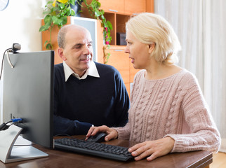 Senior couple using PC at home