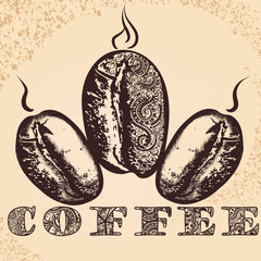 Coffee poster with hand drawn arabic coffee grains and African o