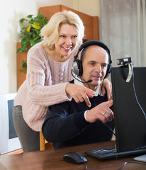 Couple talking with someone online