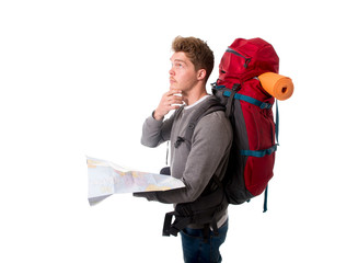 young backpacker tourist looking map in stress lost and confused