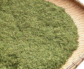 the dried crushed tea leaves
