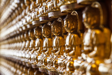 Buddha statues in temple of Thailand