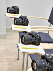 Reflex digital camera in classroom photoschool