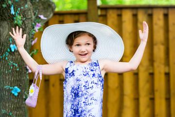 Girl Wearing Oversized Sun Hat