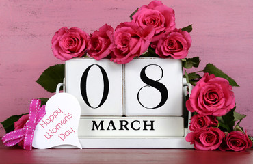 International Womens Day pink roses on vintage background.
