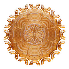 Golden Circle Ornament on isolated white