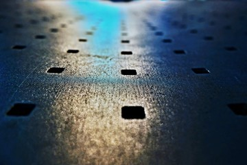 Abstract look of metal bench