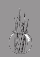 Pencils in jar