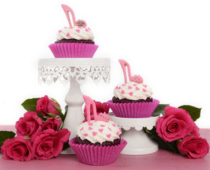 Pink cupcakes with high heel stiletto fondant shoes